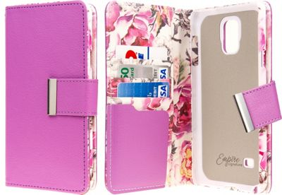 EMPIRE KLIX Klutch Designer Wallet Case Samsung Galaxy Note 4 Pink Faded Flowers - EMPIRE Electronic Cases