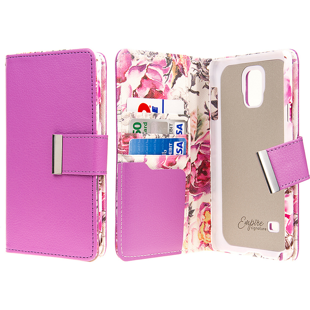 EMPIRE KLIX Klutch Designer Wallet Case Samsung Galaxy Note 4 Pink Faded Flowers EMPIRE Electronic Cases