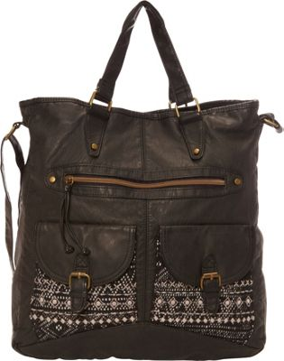 T-shirt & Jeans Washed Double Pocket Tote With Crochet And Embroidery Black - T-shirt & Jeans Manmade Handbags