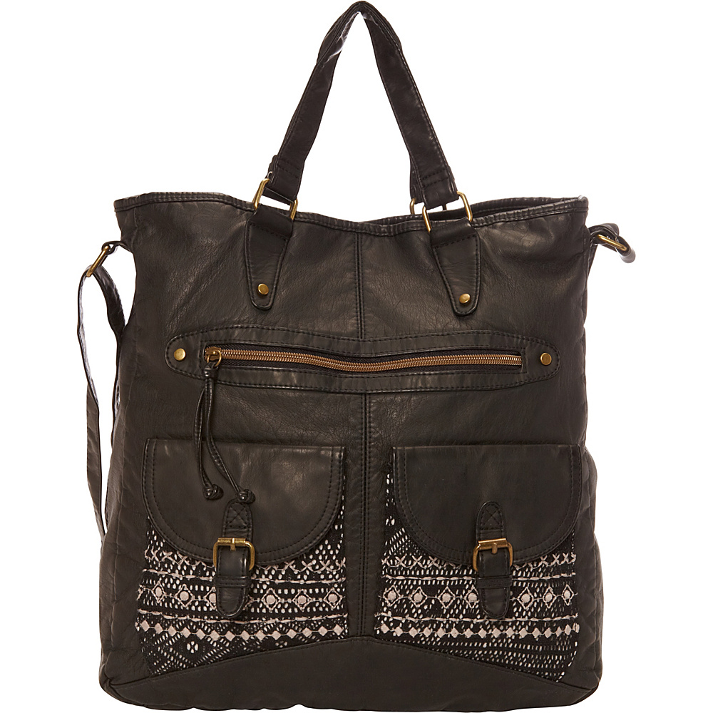 T shirt Jeans Washed Double Pocket Tote With Crochet And Embroidery Black T shirt Jeans Manmade Handbags