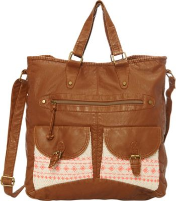 T-shirt & Jeans Washed Double Pocket Tote With Crochet And Embroidery Cognac - T-shirt & Jeans Manmade Handbags
