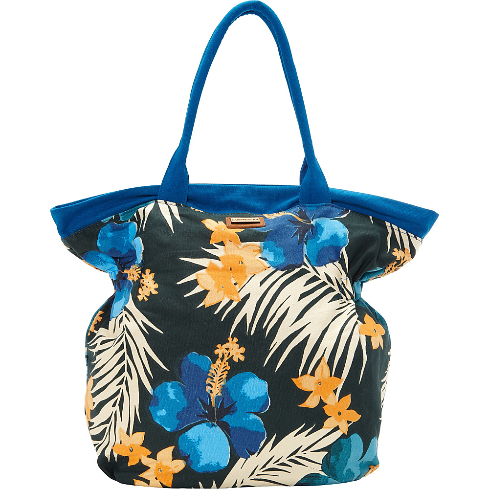 Caribbean Joe Accessories Hibiscus Tote Blue - Caribbean Joe Accessories Fabric Handbags