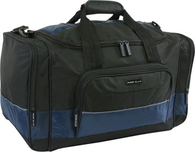 Perry Ellis Business Duffel Bag - Medium Black/Navy - Perry Ellis Travel Duffels
