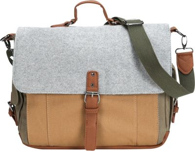 Something Strong Tri-Color Canvas And Wool Messenger With Inner Laptop Compartment Grey/Olive/Brown - Something Strong Messenger Bags