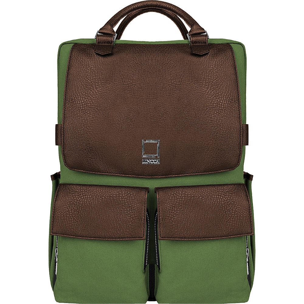 Lencca Novo Laptop Traveler s Backpack Forest Green Espresso Brown Lencca Business Laptop Backpacks