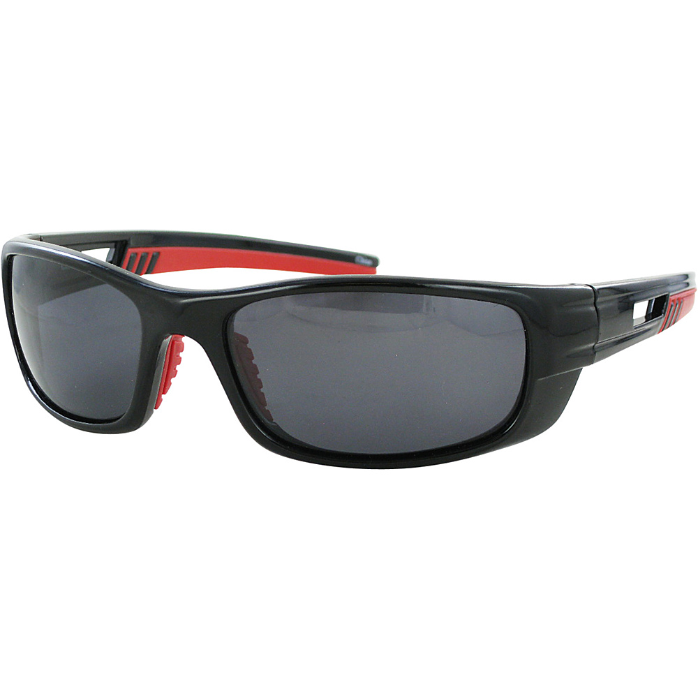 CB Sport Plastic Wrap Sunglasses Black with Red Rubber and Smoke Lenses - CB Sport Sunglasses