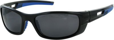 CB Sport Plastic Wrap Sunglasses Black with Blue Rubber and Smoke Lenses - CB Sport Sunglasses