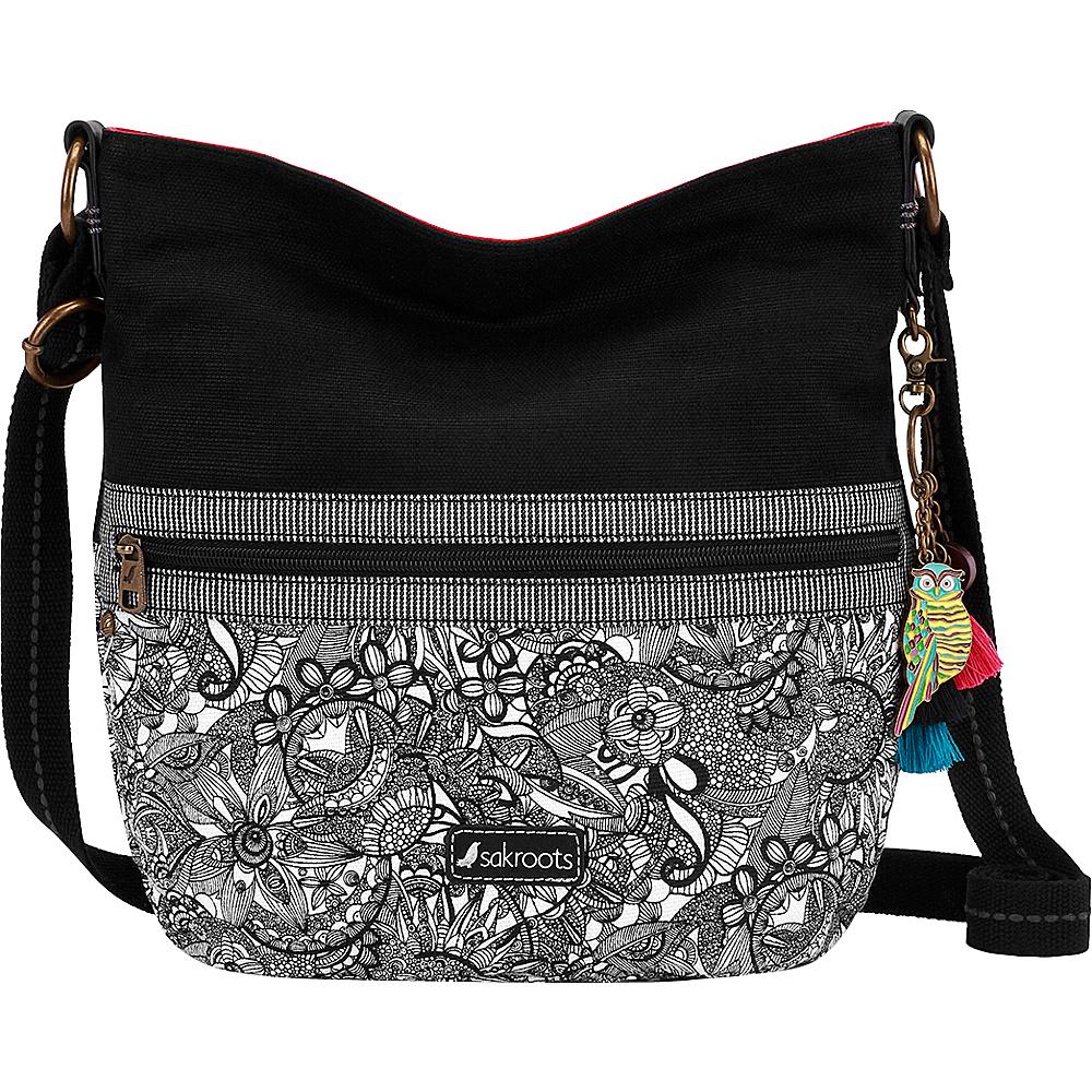 Sakroots Artist Circle Soft Bucket Black and White Spirit Desert - Sakroots Fabric Handbags - Handbags, Fabric Handbags