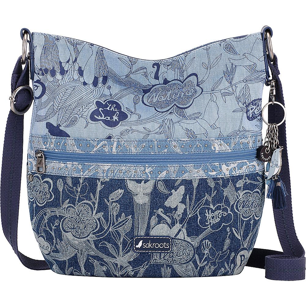 Sakroots Artist Circle Soft Bucket Denim Peace - Sakroots Fabric Handbags - Handbags, Fabric Handbags