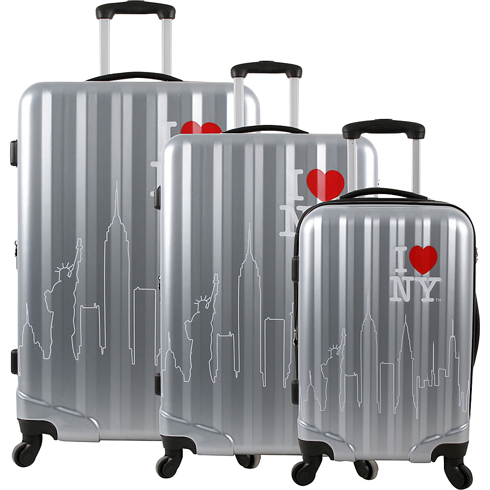 J World New York ILNY Cityscape 3 Piece Luggage Set Silver - J World New York Luggage Sets - Luggage, Luggage Sets