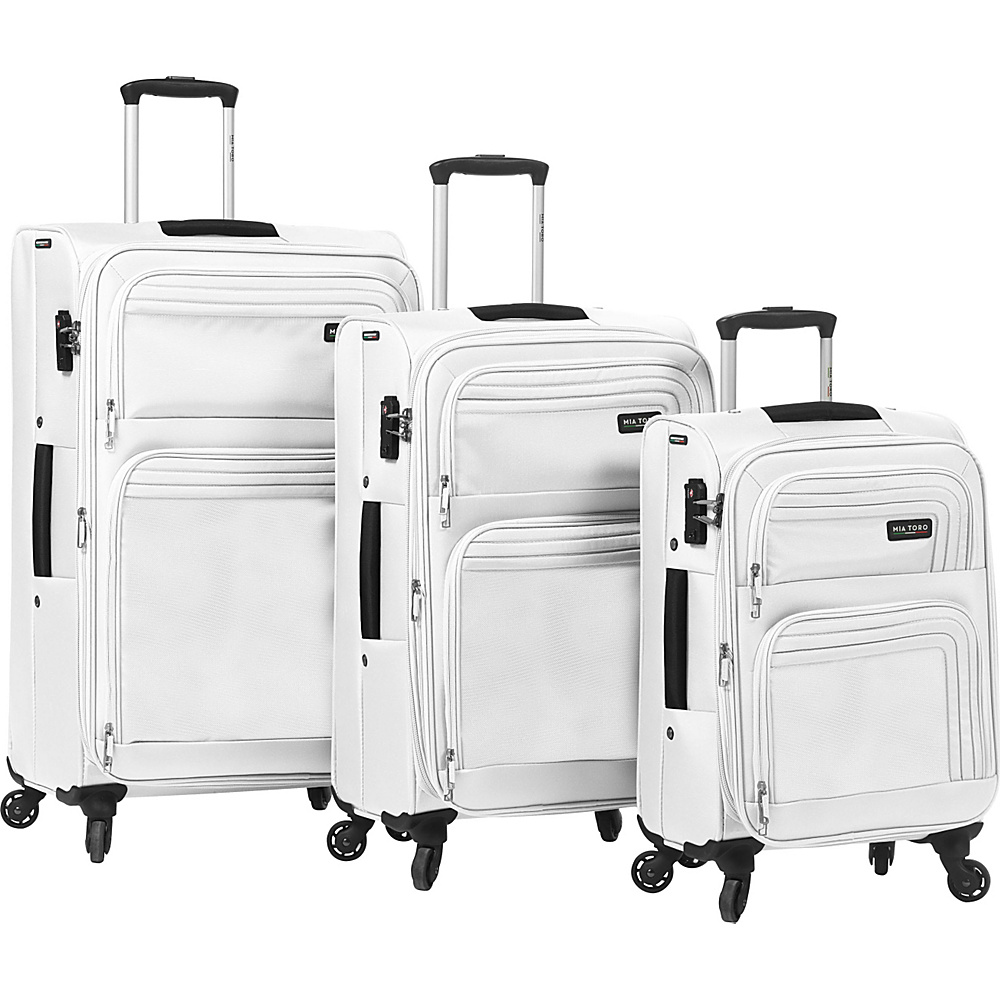 Mia Toro ITALY Cortina Luggage Set White Mia Toro ITALY Luggage Sets