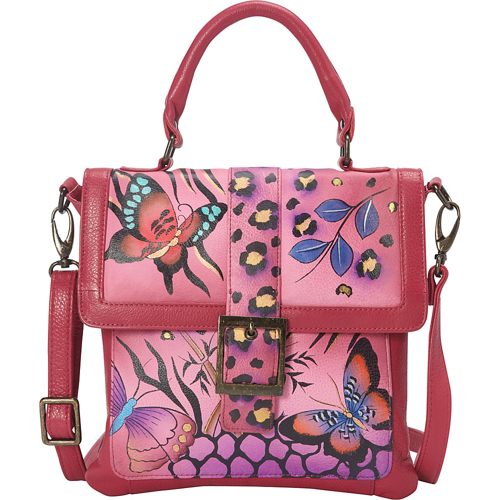 ANNA by Anuschka Hand Painted Flap Saddle Bag Animal Butterfly Pink ANNA by Anuschka Leather Handbags