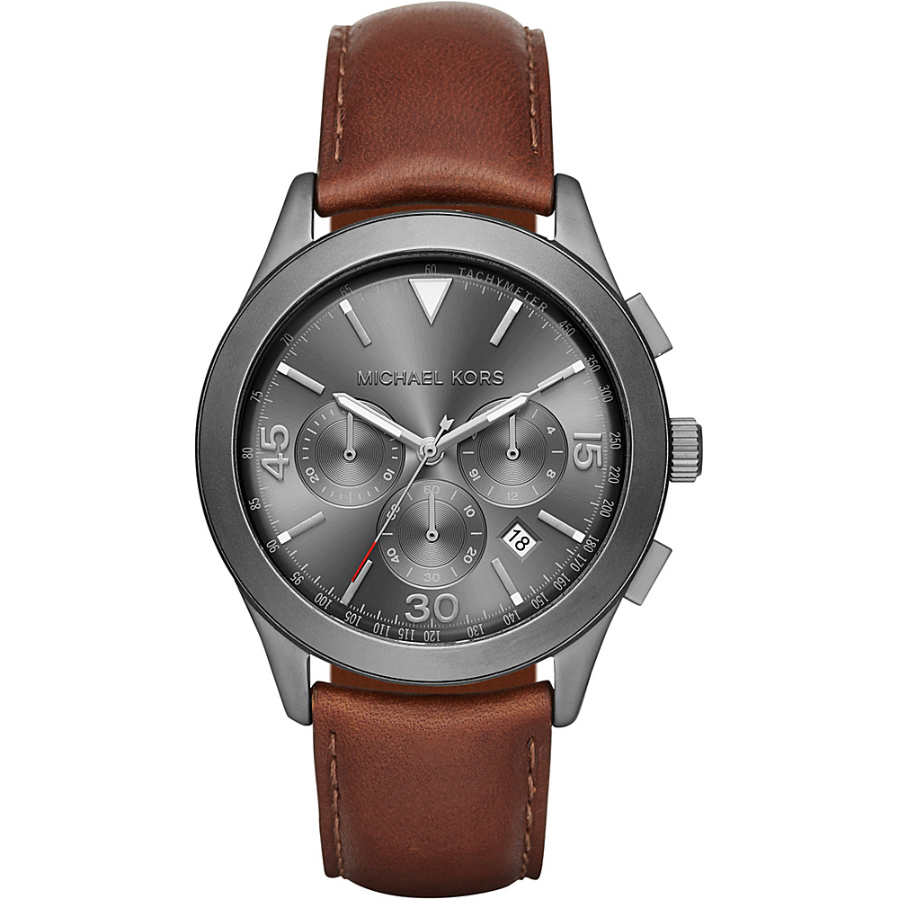 Michael Kors Watches Gareth Leather Chrono Watch Brown/gunmetal Michael Kors Watches Watches