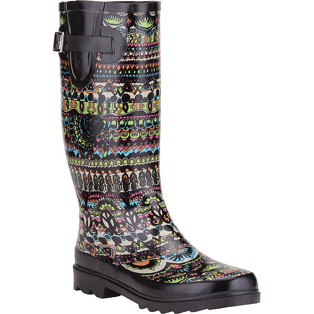 Sakroots Rhythm Rain Boot 5 - M (Regular/Medium) - Neon One World - Sakroots Womens Footwear - Apparel & Footwear, Women's Footwear