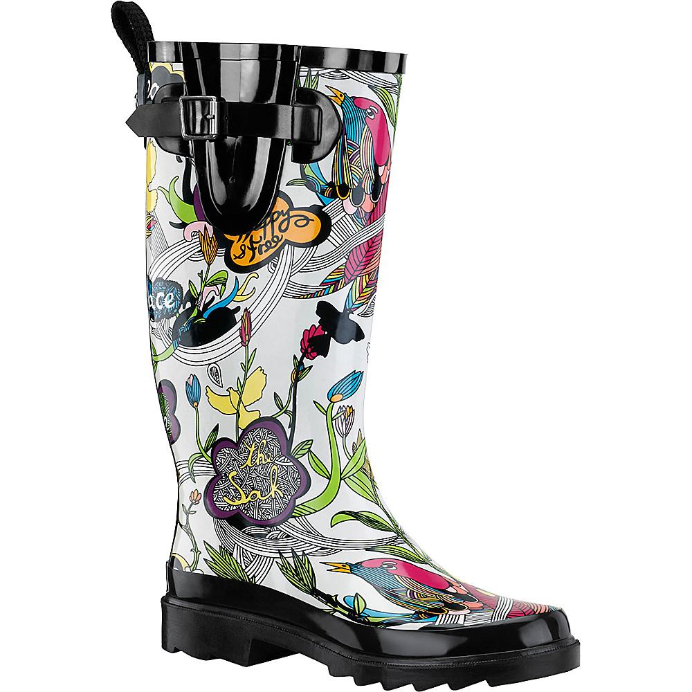Sakroots Rhythm Rain Boot 8 - Optic Peace - Sakroots Womens Footwear - Apparel & Footwear, Women's Footwear