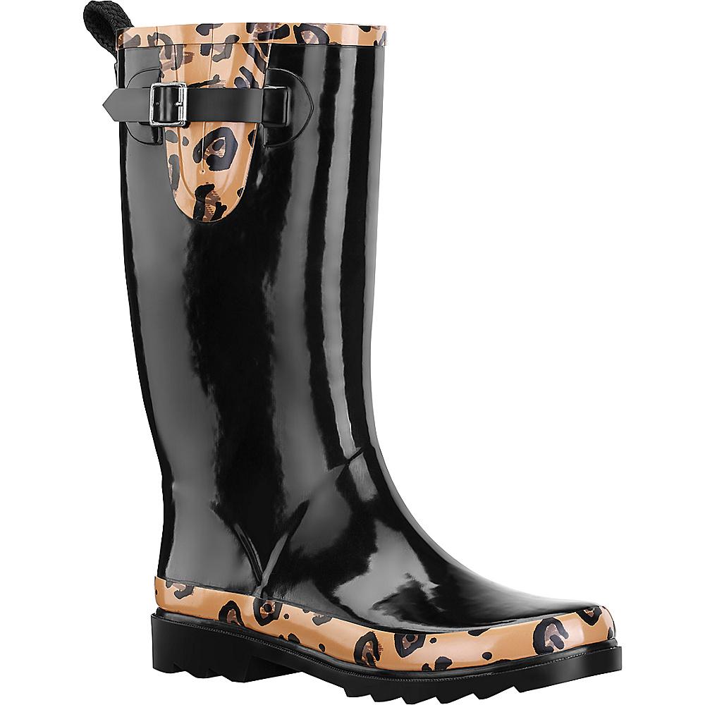 Sakroots Rhythm Rain Boot 8 - M (Regular/Medium) - Black with Natural Leopar - Sakroots Womens Footwear - Apparel & Footwear, Women's Footwear