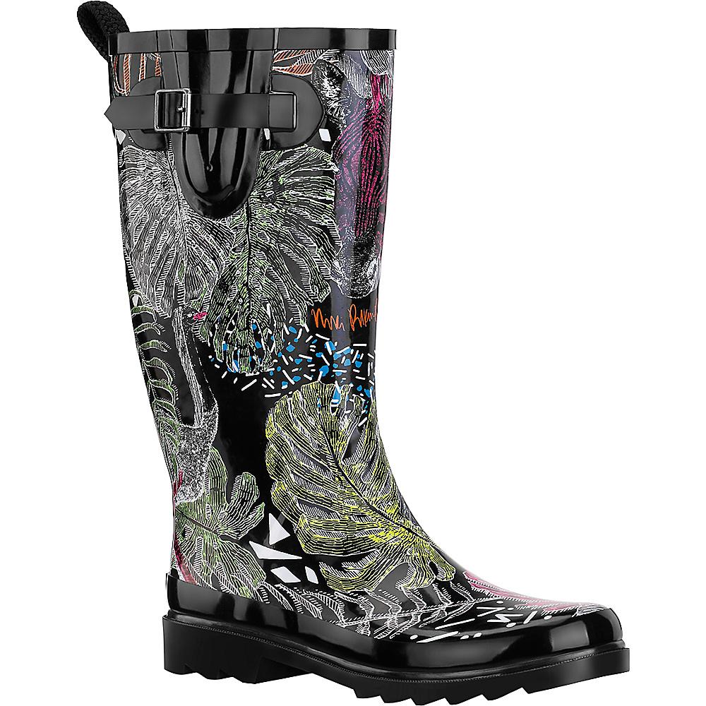 Sakroots Rhythm Rain Boot 9 - M (Regular/Medium) - Black Wild Life - Sakroots Womens Footwear - Apparel & Footwear, Women's Footwear