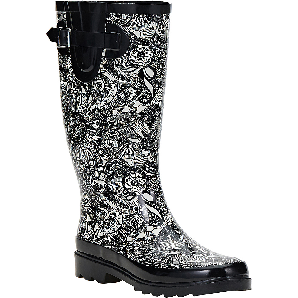 Sakroots Rhythm Rain Boot 9 M Regular Medium Black amp; White Spirit Sakroots Women s Footwear