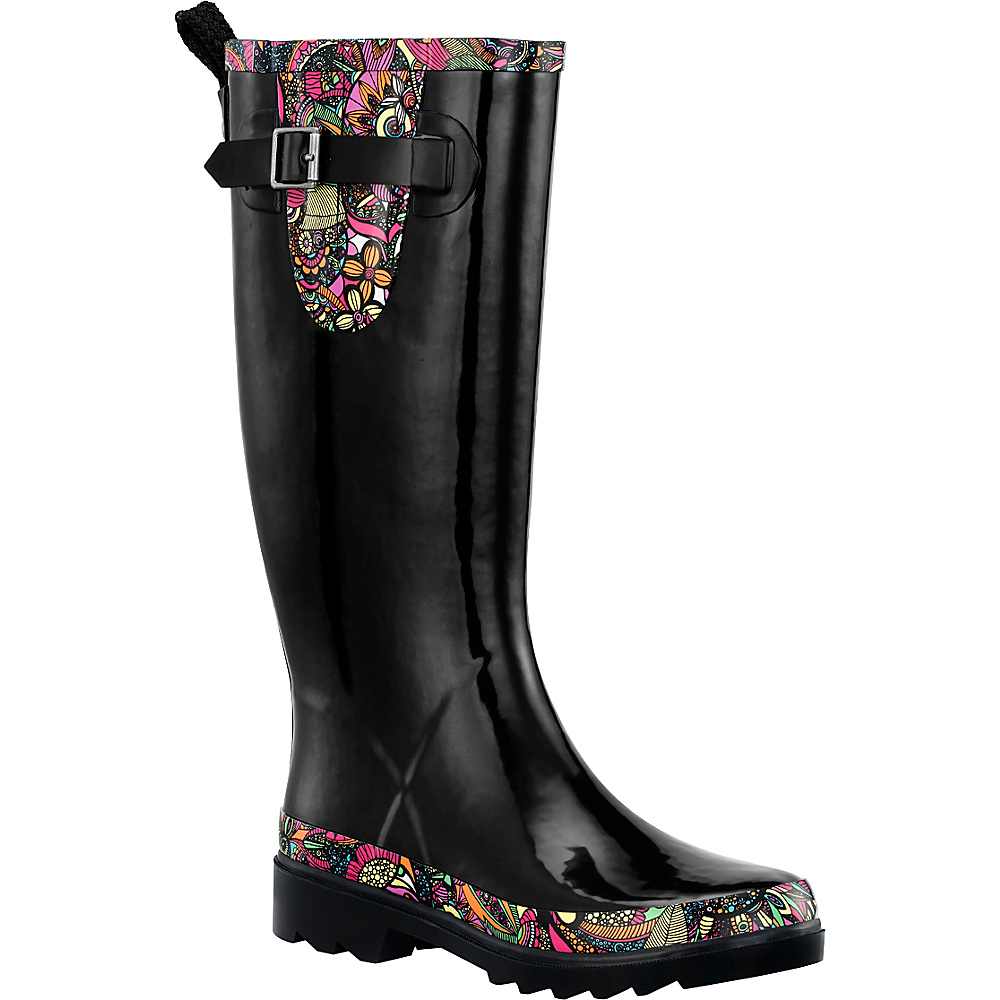 Sakroots Rhythm Rain Boot 7 - M (Regular/Medium) - Black Rainbow Spirit Dese - Sakroots Womens Footwear - Apparel & Footwear, Women's Footwear