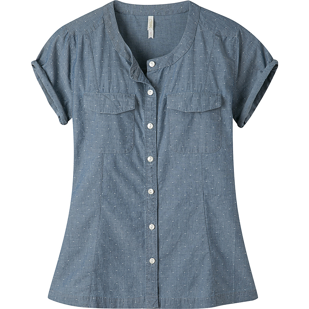 Mountain Khakis Amie Indigo Short Sleeve Shirt S - Polkadobby - Mountain Khakis Womens Apparel - Apparel & Footwear, Women's Apparel