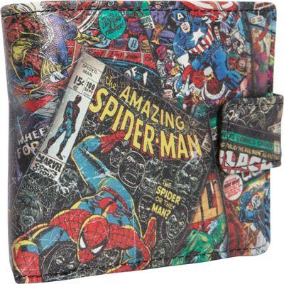 Marvel Marvel Comic Black Wallet with Outside Print Black - Marvel Men's Wallets