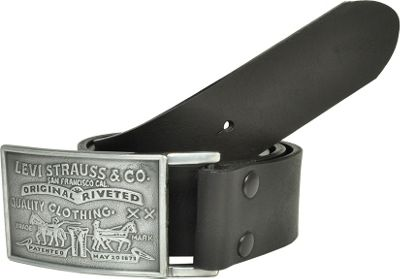 Levi's 38MM Bridle Belt w/ Strap Snap Closure and Removable Plaque Buckle 44 - Black - Levi's Other Fashion Accessories