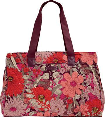 Vera Bradley Triple Compartment Travel Bag - Retired Prints Bohemian Blooms with Claret - Vera Bradley Fabric Handbags