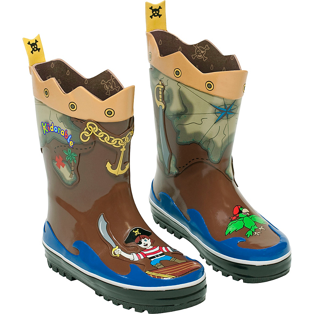 Kidorable Pirate Rain Boots 9 (US Toddlers) - M (Regular/Medium) - Brown - Kidorable Mens Footwear - Apparel & Footwear, Men's Footwear
