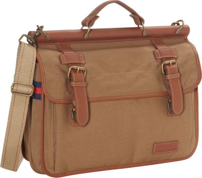 Tommy Hilfiger Luggage Workhorse Double Flap Over Portfolio Bag Khaki - Tommy Hilfiger Luggage Non-Wheeled Business Cases