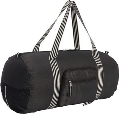 Sacs Collection by Annette Ferber Sacs Collection by Annette Ferber Duffster 2 Piece Set- Full-Size Collapsible Duffel Black Pinstripe - Sacs Collection by Annette Ferber Travel Duffels
