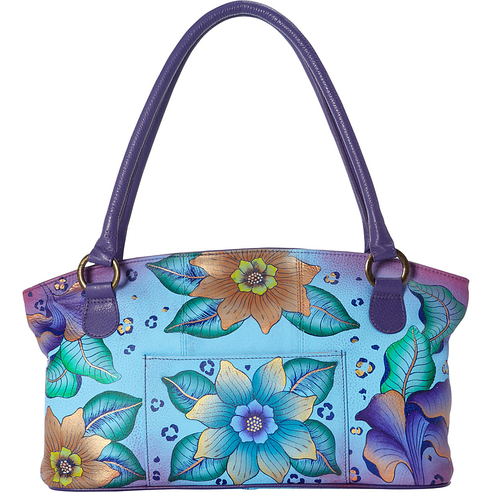 ANNA by Anuschka Hand Painted Wide Tote Tropical Safari ANNA by Anuschka Leather Handbags