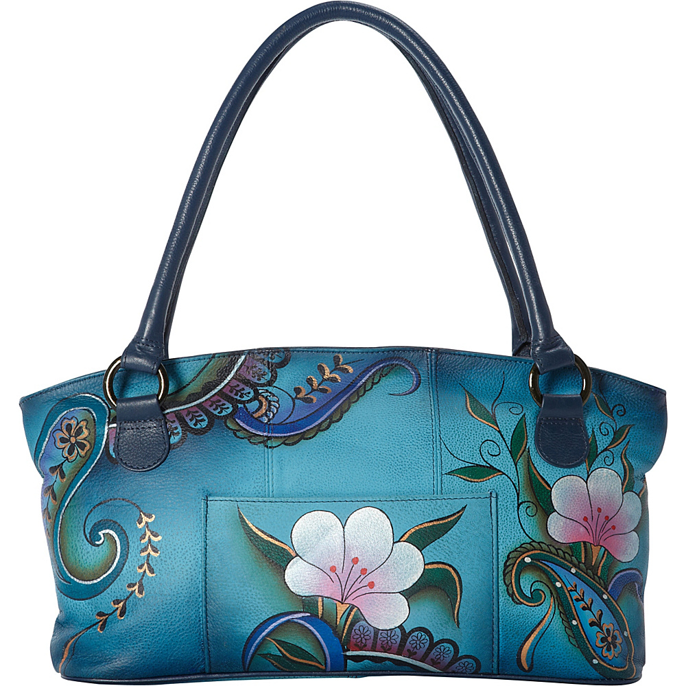 ANNA by Anuschka Hand Painted Wide Tote Denim Paisley Floral ANNA by Anuschka Leather Handbags