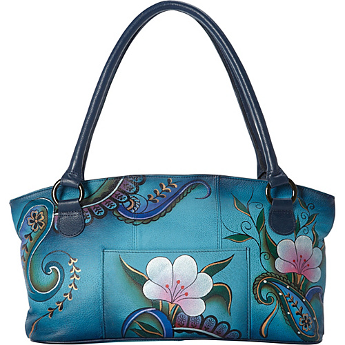 ANNA by Anuschka Hand Painted Wide Tote Denim Paisley Floral - ANNA by Anuschka Leather Handbags