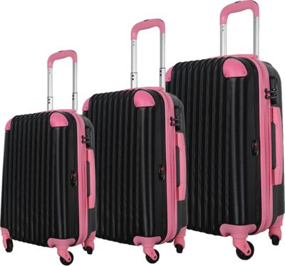 Brio Luggage Hardside Spinner Luggage Set #808 Black/Pink - Brio Luggage Luggage Sets
