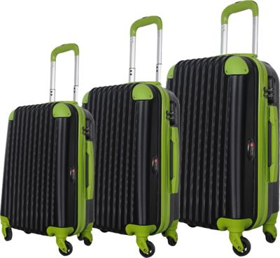 Brio Luggage Brio Luggage Hardside Spinner Luggage Set #808 Black/Green - Brio Luggage Luggage Sets