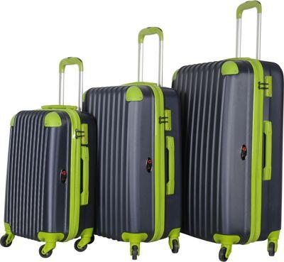 Brio Luggage Hardside Spinner Luggage Set Navy/Green - Brio Luggage Luggage Sets
