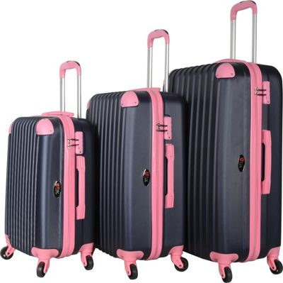 Brio Luggage Hardside Spinner Luggage Set #808 Navy/Pink - Brio Luggage Luggage Sets