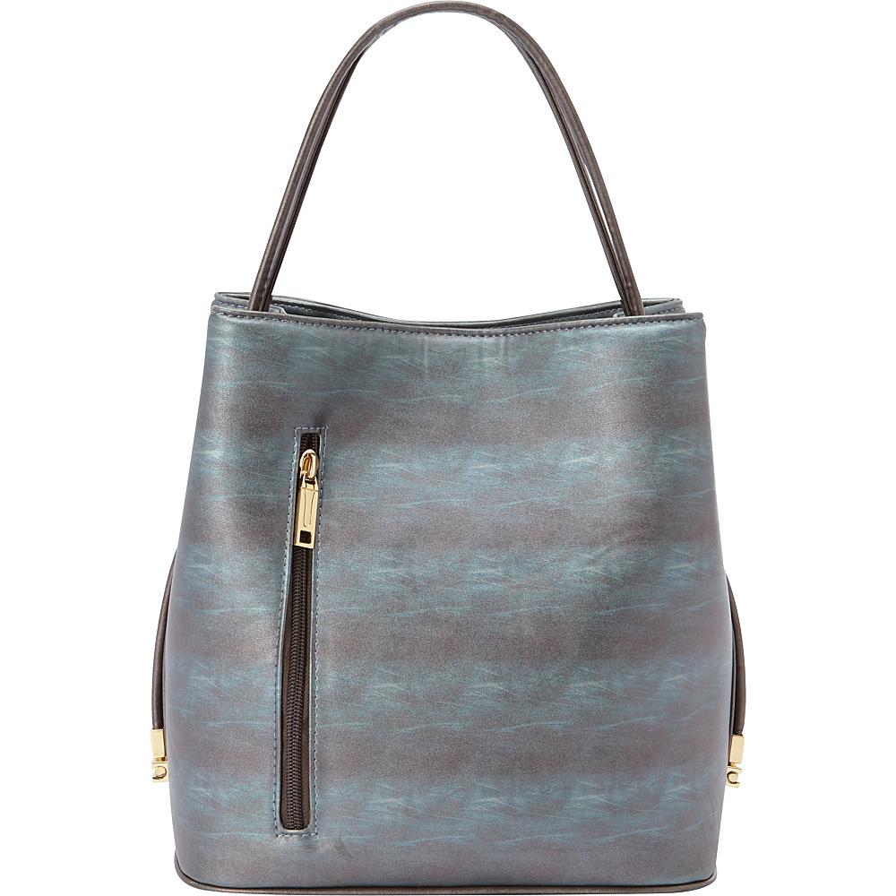 Samoe Classic Convertible Handbag Cyan Sunset Bronze Handle Classic Samoe Manmade Handbags