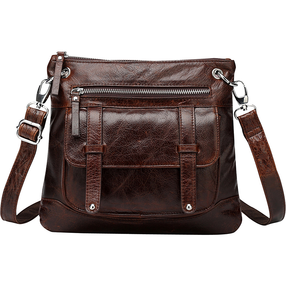 Vicenzo Leather Ella Distressed Leather Crossbody Handbag Dark Brown Vicenzo Leather Leather Handbags
