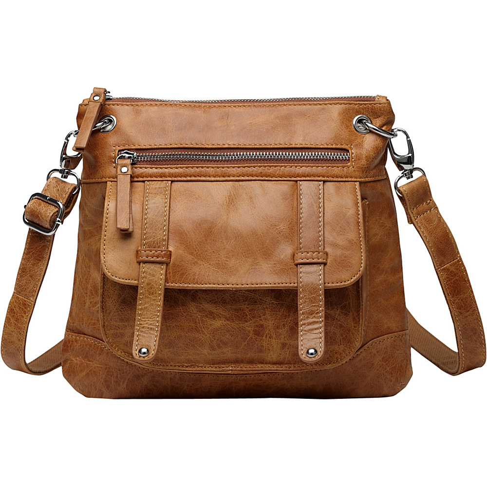 Vicenzo Leather Ella Distressed Leather Crossbody Handbag Brown Vicenzo Leather Leather Handbags