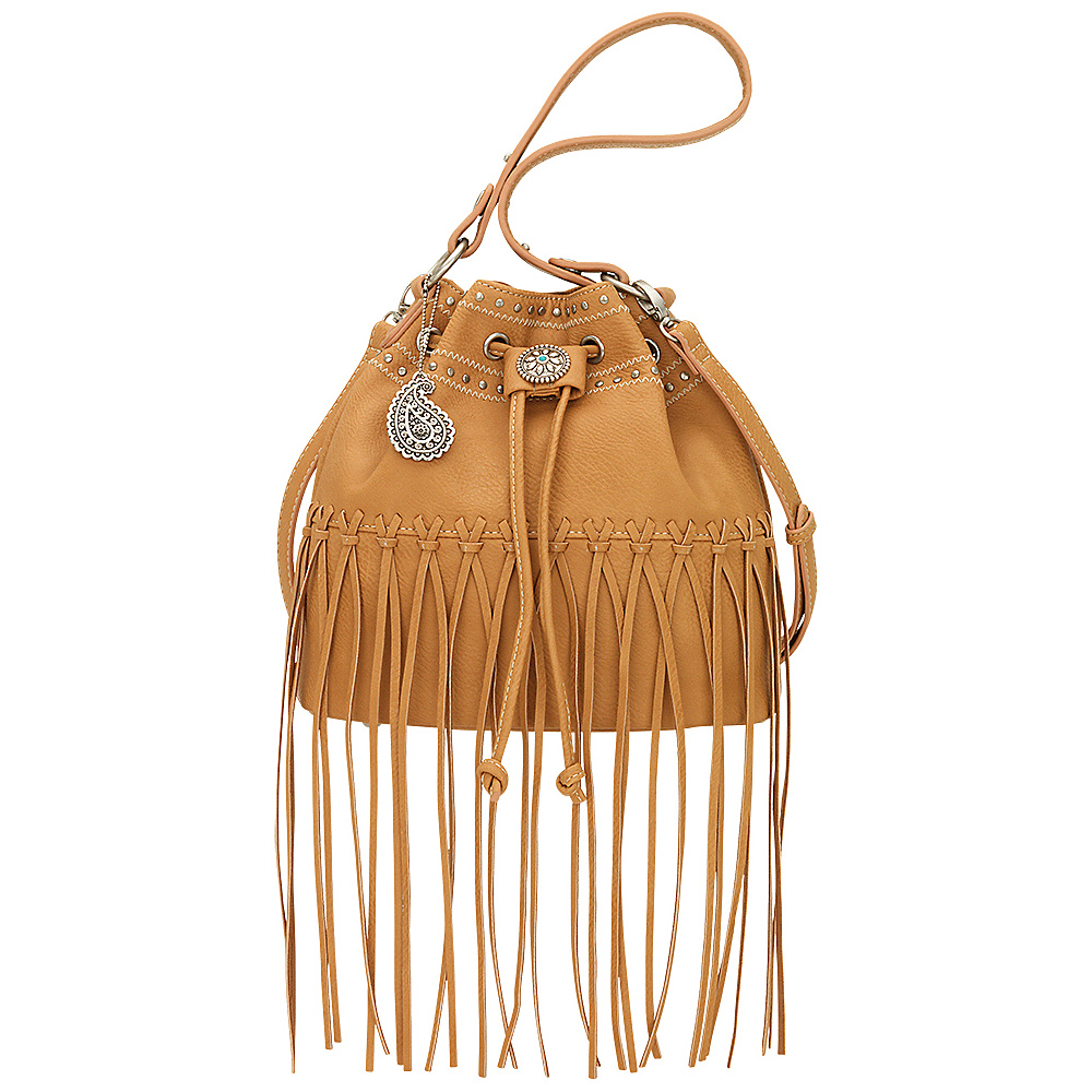 Bandana Rio Rancho Drawstring Bucket Shoulder Bag Tan Bandana Manmade Handbags