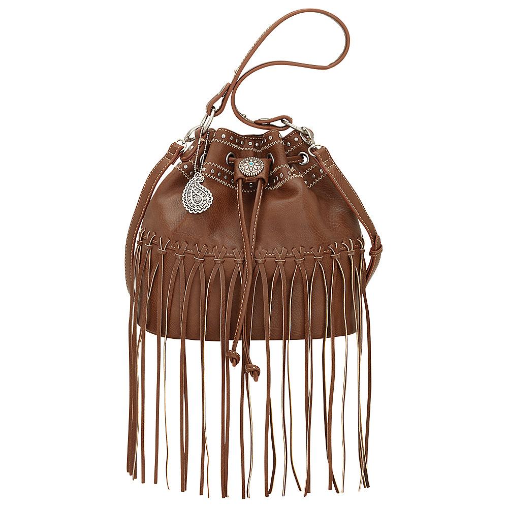 Bandana Rio Rancho Drawstring Bucket Shoulder Bag Brown Bandana Manmade Handbags