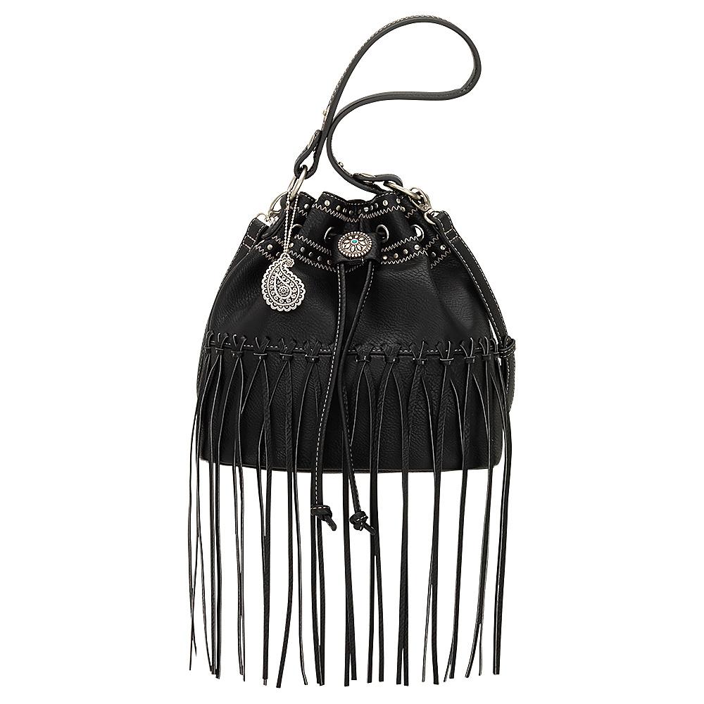 Bandana Rio Rancho Drawstring Bucket Shoulder Bag Black Bandana Manmade Handbags