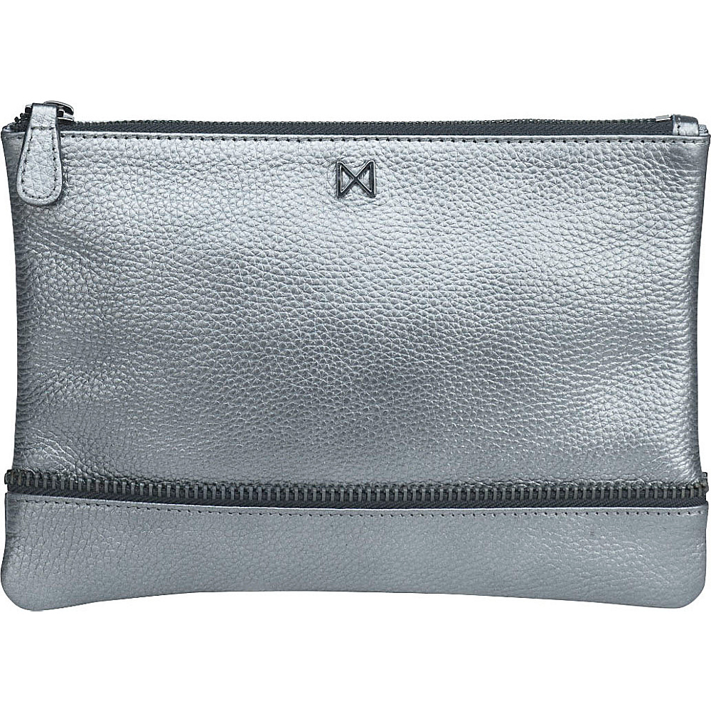 MOFE Sage Pebble Leather Clutch Pewter MOFE Leather Handbags