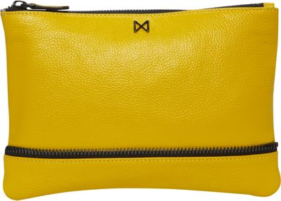 MOFE MOFE Sage Pebble Leather Clutch Yellow - MOFE Leather Handbags