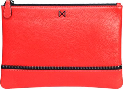 MOFE MOFE Sage Pebble Leather Clutch Tomato - MOFE Leather Handbags