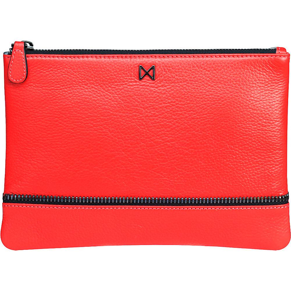 MOFE Sage Pebble Leather Clutch Tomato MOFE Leather Handbags