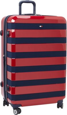 Tommy Hilfiger Luggage Rugby Stripe 28 Upright Hardside Spinner Red - Tommy Hilfiger Luggage Hardside Checked