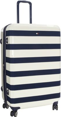 Tommy Hilfiger Luggage Rugby Stripe 28 Upright Hardside Spinner White - Tommy Hilfiger Luggage Hardside Checked