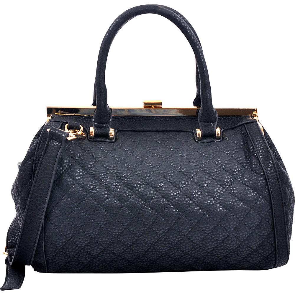 Dasein Quilted Barrel Satchel with Push-Up Closure Black - Dasein Manmade Handbags - Handbags, Manmade Handbags